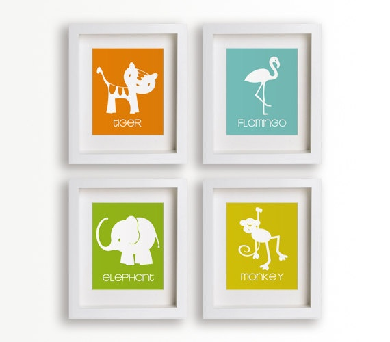 In The Jungle Set of Four 5x7 Art Prints  Nursery by NikoAndLily