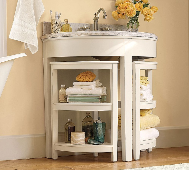 pedestal sink or vanity in small bathroom%0A potterybarn com  cute lunasinglesinkconsole