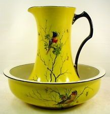 Antique Hand Painted Porcelain Wash Basin and Pitcher Bird Design Yellow/Black.