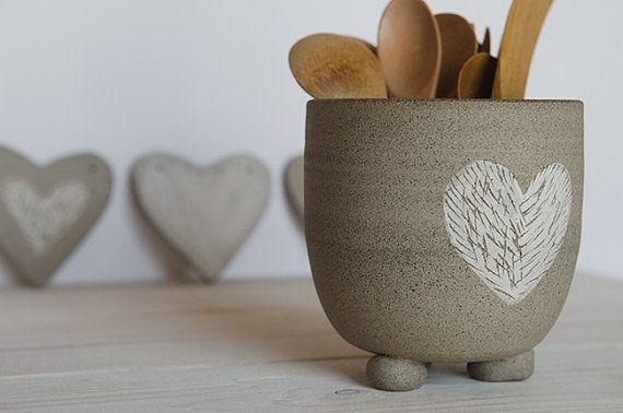 Pottery utensil holder kitchenware ceramic by OritCreativeWorkshop