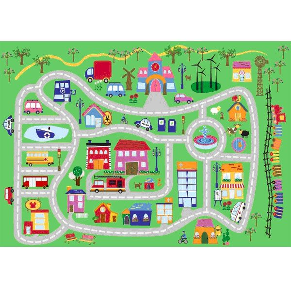 Polypropylene Rugs Fun City Fun Time Kids Rug by LA Rugs This kids rug features medium pile with non skid backing for added safety