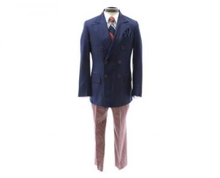 """Roger's Double Breasted Coat and Plaid Pants Outfit - Current price: $1600 Another Roger Sterling special, this three-piece double-breasted blue jacket and plaid pants was made by Janie Bryant for """"Mad Men"""" and Brooks Brothers, respectively. Also included is a dark blue tie with light blue and red diagonal stripe accents (by Avanti) and a long-sleeve white Brooks Brothers dress shirt."""