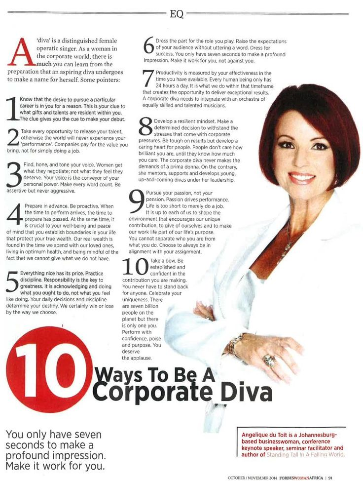 """Grab your November copy of Forbes Women Africa to read """"10 Ways to be a Corporate Dive"""" featuring Angelique du Toit"""