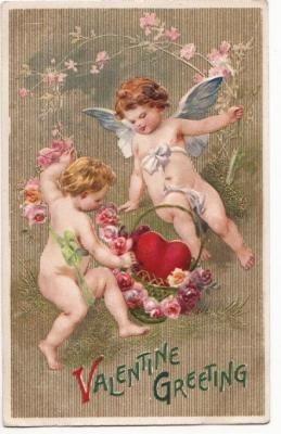 Antieke rozen en engel