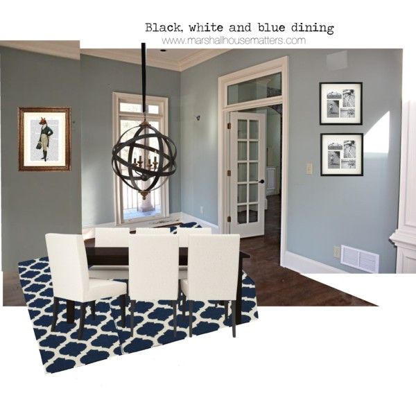Blue, white, and black dining room by marshallhousematters, via Polyvore