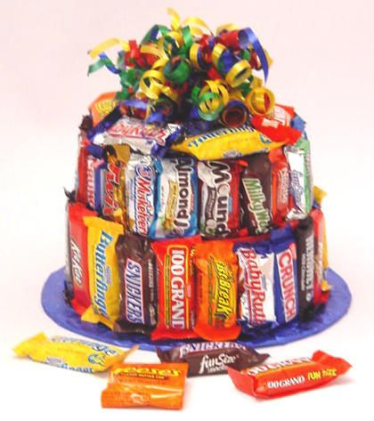 It looks like a Cake!  It's made out of Candy!    This two layer Fun Cake is made with a wonderful assortment of fun sized candy bars such as: Butterfingers, Nestles Crunch, Mounds, Baby Ruth, Three Musketeers, 100 Grand, Hershey, Snickers and more.    You even have the option of filling the inside with even more candy or chocolate chip cookies (or both) so there is plenty to share.