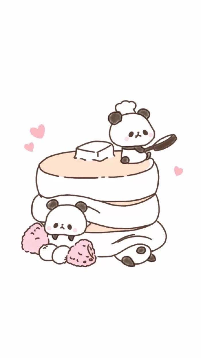 Wallpaper | Cute | Panda | Pancakes | Illustration