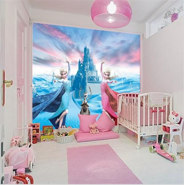 Custom 3D Elsa Frozen Cartoon Wallpaper for Walls Kidsu0027 Room Mural