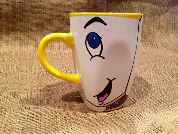 Disney Chip Potts From Beauty and the Beast Coffee Mug Tea Cup // Chip hand painted design on Etsy, $11.00