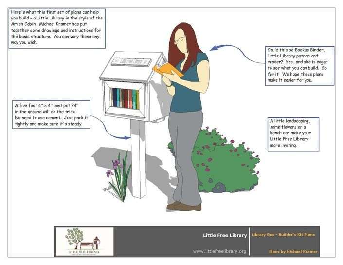 Build a classic Little Free Library with blueprints and instructions provided on the Little Free Library website: http://www.littlefreelibrary.org/plans-and-tips-for-builders.html.