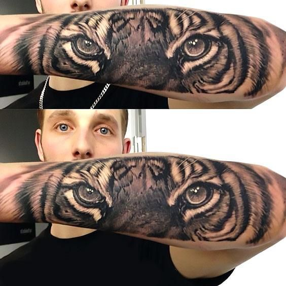 Amazing Realistic Tiger Sleeve Tattoo Idea                                                                                                                                                                                 Más