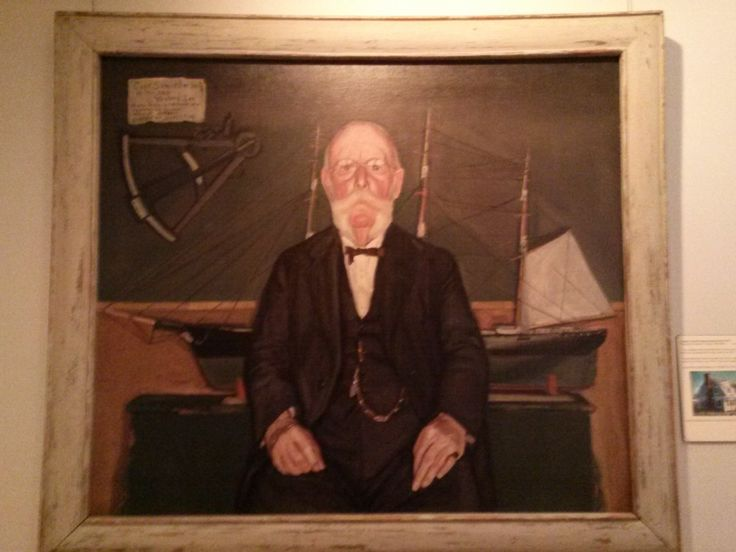"""Captain Samuel Gilman Harding (1843-1947). Portrait painted by Frederick S. Wight. In his own words """"I was captain of the Western Sea for ten years."""" A quote from A Home on the Rolling Deep. Captain Samuel lived at 120 Seaview Street in Chatham, MA. #atwoodhouse, #chatham, #capecod, #chathamhistoricalsociety"""