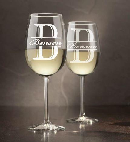 Monogram Wine Glasses (Set of 4) - custom wine glasses,engraved glasses, monogram wine glass, etched wine glass, personalized, glassware by sketchedglass on Etsy