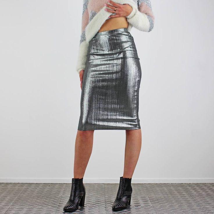 NEW in today. This metallic silver skirt is also online ….. http://www.pinkcadillac.co.uk/Glamorous-Silver-Metallic-Lurex-Midi-Skirt