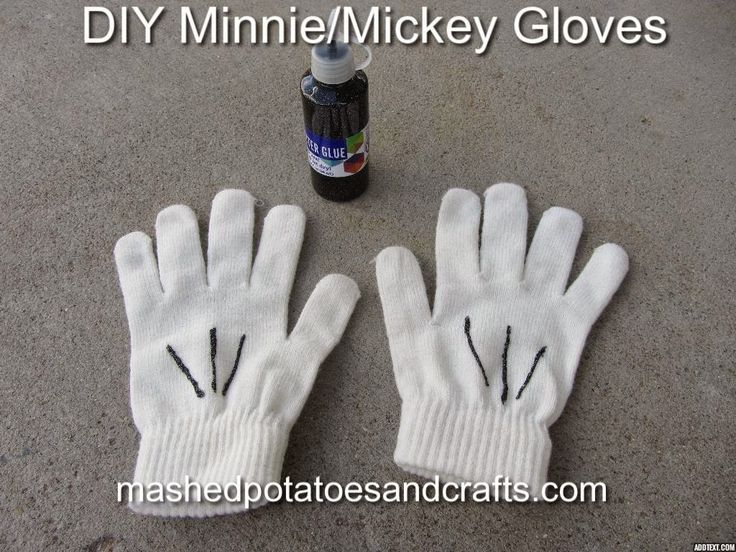 Minnie or Mickey Mouse Gloves, DIY. These are so easy! 3 Minutes to paint on and dry overnight. mashedpotatoesandcrafts.com