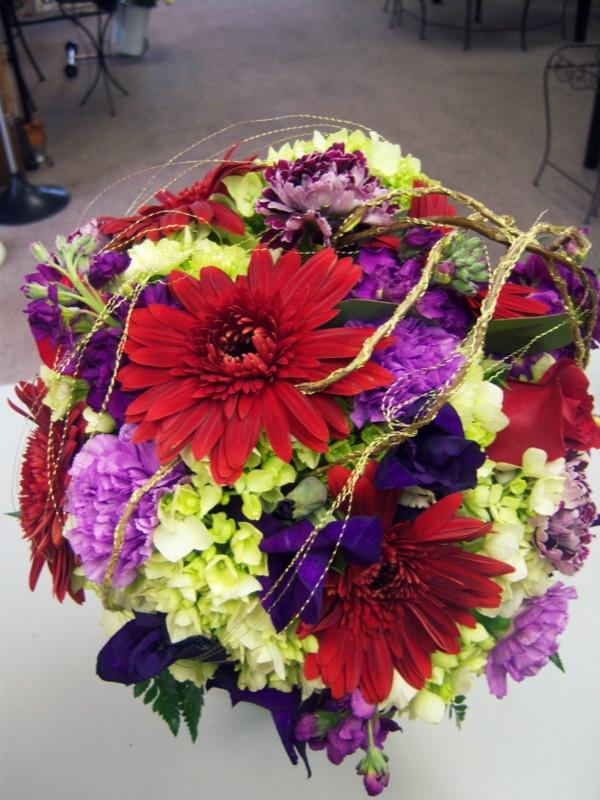 Red purple green wedding bouquet by R'cena: Green Wedding Bouquets, Purple Green Weddings