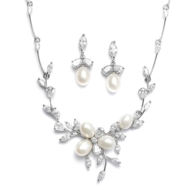 Genuine Cubic Zirconia and Freshwater Pearl Necklace and Earring Set $185  www.glitterella.ca