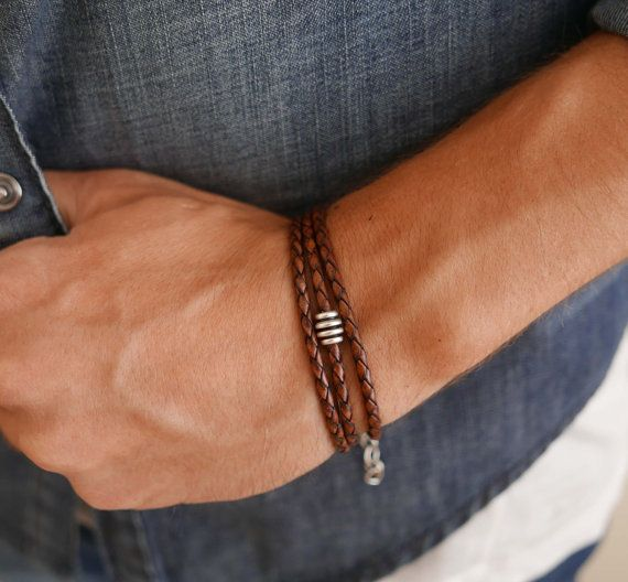 Men Bracelet - Men Beaded Bracelet - Men Leather Bracelet - Men Jewelry - Men's Bracelet - Men's Jewelry - Men Gift - Men's Gift - Men's Beaded Bracelet - Men's Leather Bracelet - Jewelry For Men - Bracelet For Men - Gift For Men - Men Accessories - Guy Gifts - Guy Bracelets - Guy Jewelry - Boyfriend Gift - Husband Gift  Looking for a gift for your man? You've found the perfect item for this!   Men's brown leather wrap bracelet with silver plated bead. $29
