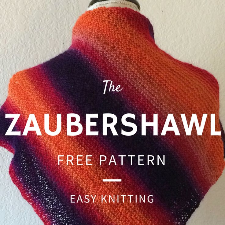 "Zaubershawl Free Knitting Pattern - Easy one-ball project!  This easy to knit shawl is perfect for knitters of all skill levels.  Featuring self-striping Zauberball yarn, it's knit on the diagonal and  worked from side to side.   Skill Level: Beginner  Gauge: 18 sts and 36 rows to 4"" in garter stitch  Completed Shawl Measures: 20"" high at center x 44"" wide, unstretched  You will need:      * 1 ball Schoppel-Wolle Zauberball Yarn, shown in #1536     * Size US 5 circular 24"" or longer needle…"