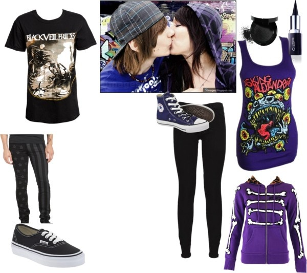"""""""cute emo couple outfit :D"""" by movinmo ❤ liked on Polyvore"""