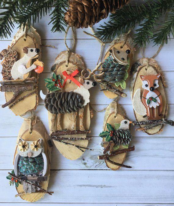 6 Rustic Christmas Ornaments Rustic Animal Wood And Paper Ornaments Rustic Cabin Ornaments Cottage Chic Ornaments Rustic Cabin Woodland Orn Fairy Garden Idea