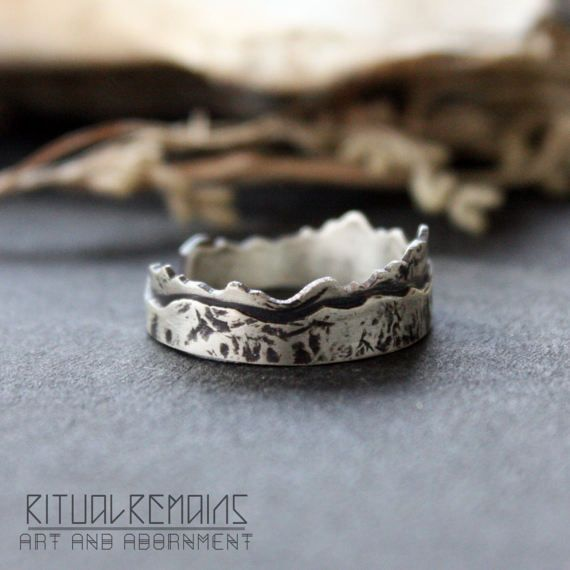 Two Layer Sterling Silver Mountain Ring Adjustable and Fixed