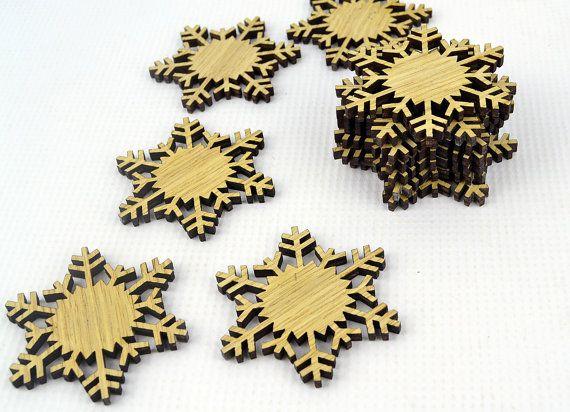 Set of 12x Oak Veneer Christmas Wooden Snowflake by JVKWOODWORK, $15.99