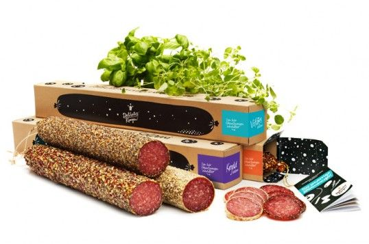 Planet Creative crafted a salami packaging with a natural and rustic feel with an illustrative and playful style, wich also became an important graphic key in the further development of corporate identity and sales material