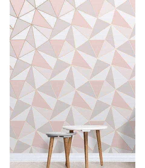 Apex Geometric Wallpaper Rose Gold Fine Decor Fd41993 Geometric Wallpaper Rose Gold Room Wallpaper Living Room Decor Apartment