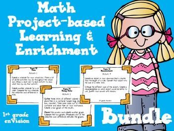Math project-based learning and enrichment bundle for high achieving students based on the CCSS and enVision Math Topics on measurement, measurement of time and using data; 1st grade.