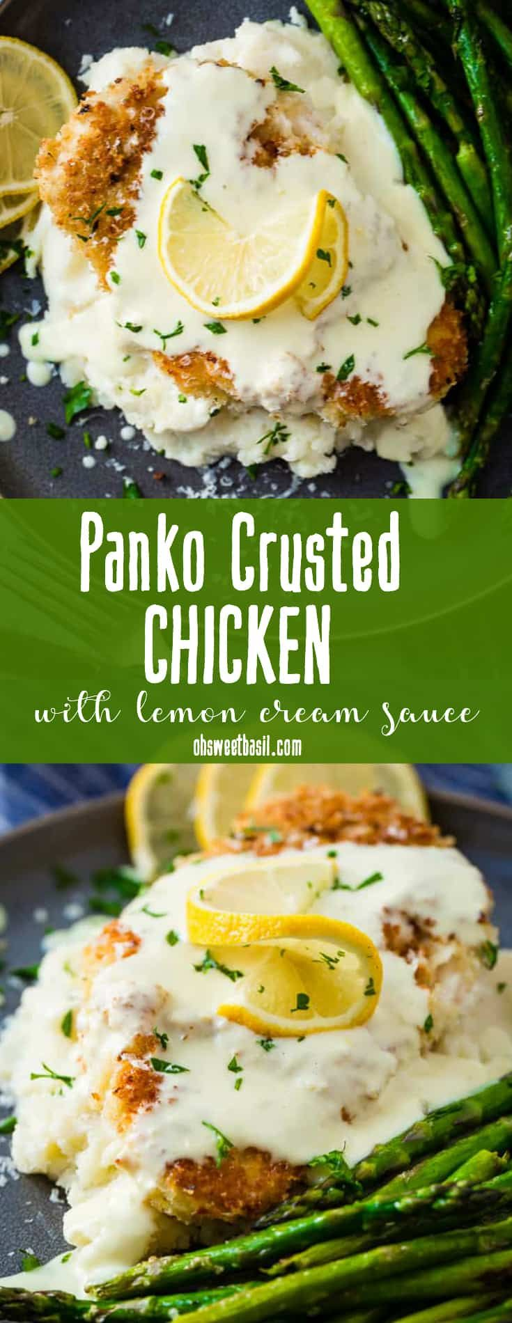 This Panko Crusted Chicken with Lemon Cream Sauce is our favorite dish to make when we have guests over! It's breaded chicken with a creamy sauce and similar to the Chicken Costoletta from the Cheesecake Factory.  #copycat #cheesecakefactory ohsweetbasil.com via @ohsweetbasil