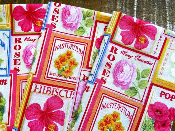 . Welcome to my Spring Inspired Series  This set of 4 features Vintage Floral Seed Packets in Warm May Floral Colors of Peaches, Yellow and Pinks.  SIZE & USES: approximately 16 x 16 inches, appropriate for dinner or luncheon. Many of my sets compliment each other and can be combined for a cottage, rustic or vintage look. Prints mix well with modern and traditional decors for a splash or accent as well. A great House warming , Bridal shower, Mothers Day gift or any occasion gift.  FABRIC:...