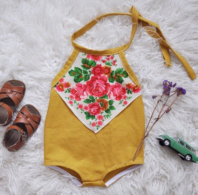 Mustard Scarf Playsuit, Oxeyed Baiby *great idea for vintage hankies
