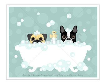 222P Dog Couple Art Together Forever Boston Terrier by leearthaus