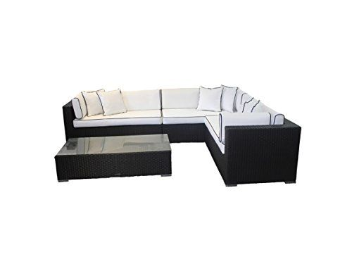 Rattan Modular Day Bed Lefthand Corner Sofa Set Monaco Garden Furniture Including Outdoor Covers Black Corner Sofa Set Corner Sofa Sofa Set
