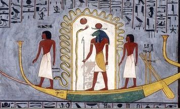 Ra (at center) travels through the underworld in his barque, accompanied by other gods[47]