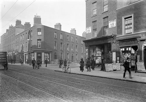 This photo was taken circa 1912 in Dublin: Corner of North Frederick Street and Hardwicke Street