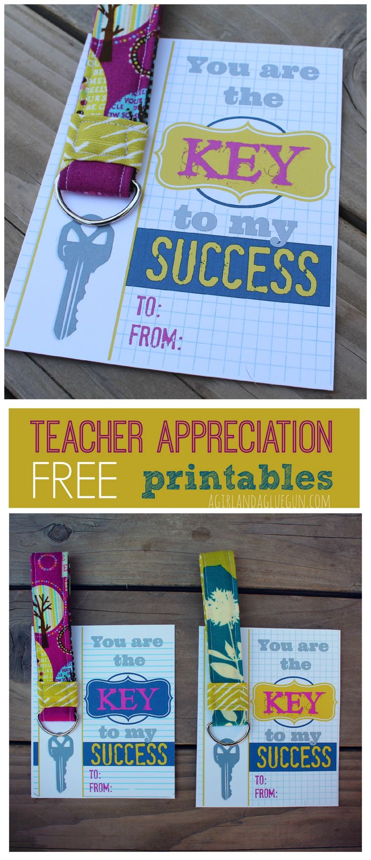 Key to my success--free teacher printables with keychain - A girl and a glue gun