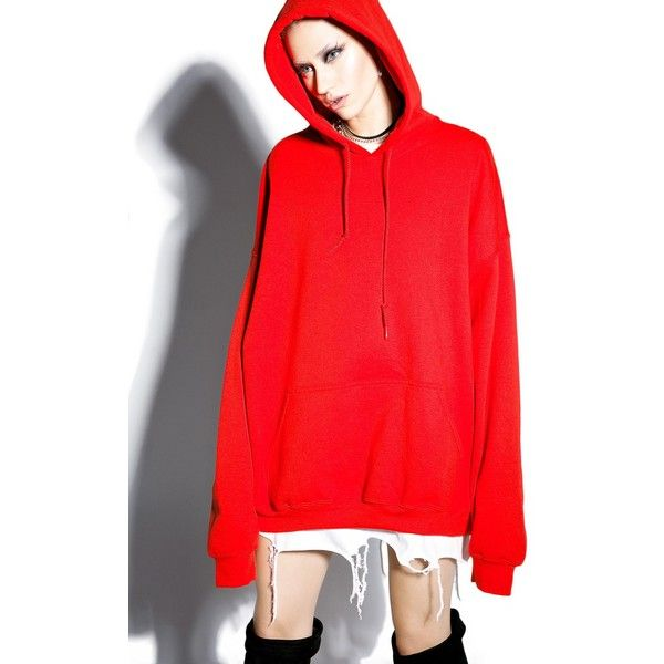 Danielle Guizio Small Talk Oversized Hoodie (£53) ❤ liked on Polyvore featuring tops, hoodies, slouchy hoodie, red hoodie, oversized hoodies, sweatshirt hoodies and oversized hoodie