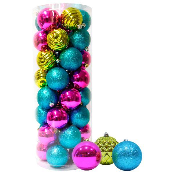 Bolas navideñas, varios colores escarchadas, lizas y decoradas