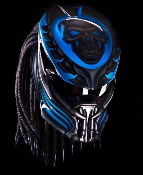 PREDATOR HELMET CUSTOM MOTORCYCLE STREET FIGHTER - BLUE