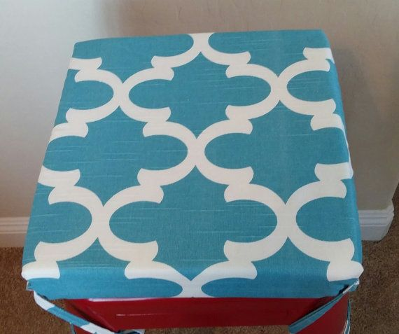 Ocean blue teal white geometric print seat cushion barstool