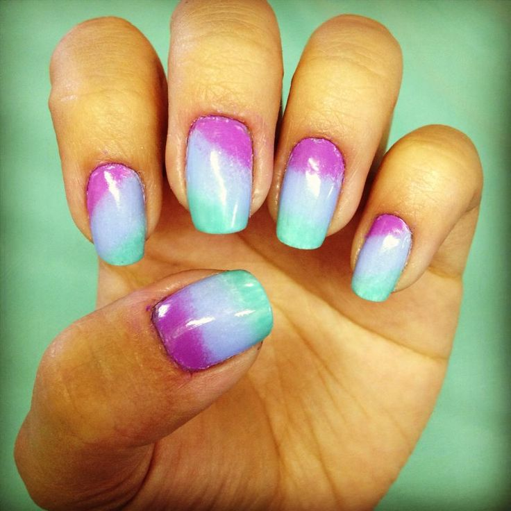 Purple, Blue, And Teal Gradient Nail Art
