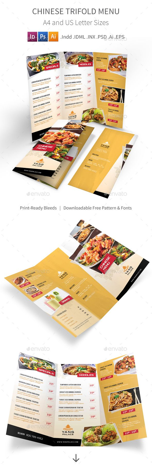 Chinese Restaurant Trifold Menu Template. Download here: http://graphicriver.net/item/chinese-restaurant-trifold-menu/16016489?ref=ksioks