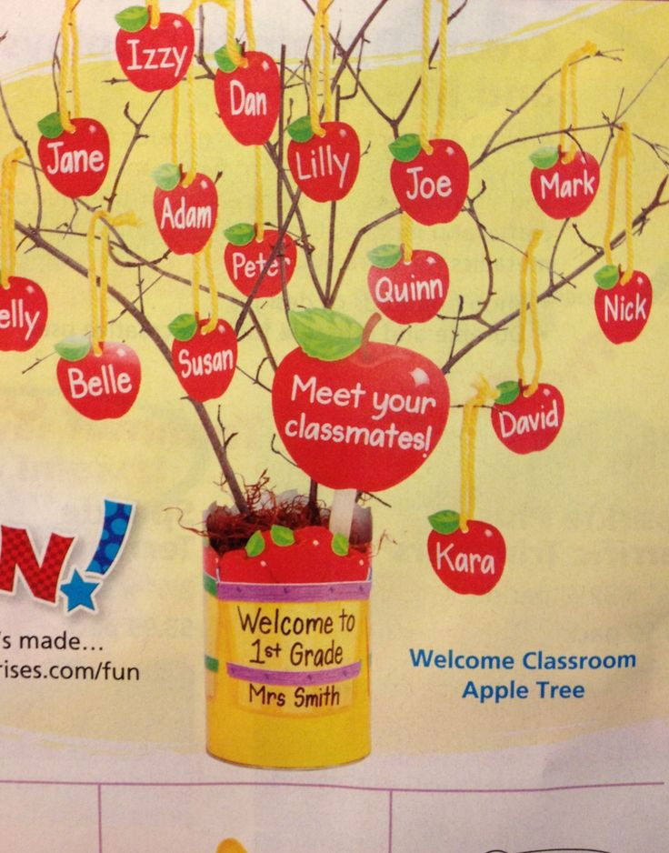 Welcome classroom apple tree on desk outside of door for Apple tree classroom decoration