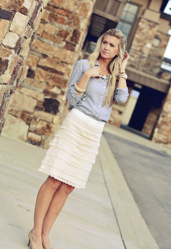 Lace skirt with chambray top