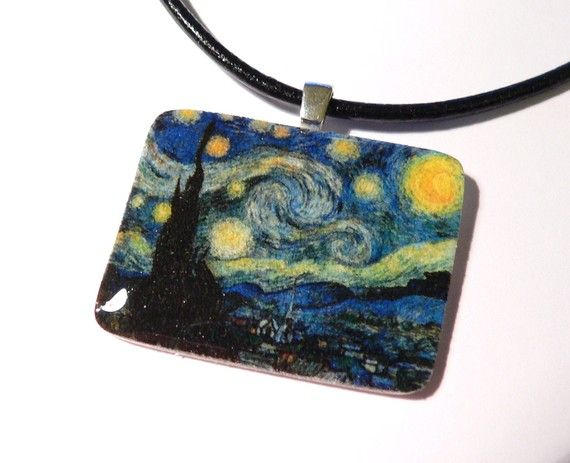 Van Gogh Starry night necklace, shrink plastic necklace, wearable art jewelry