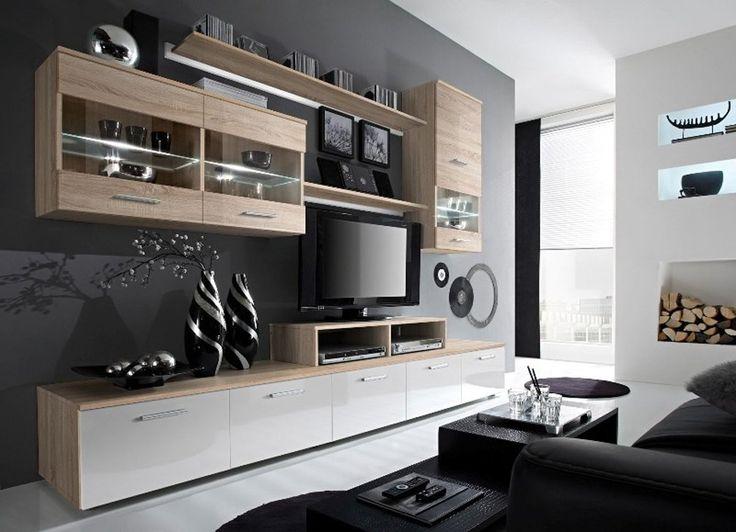 Amazon.com - Paris Contemporary Design Wall Unit / Modern Entertainment Center / Unique Modern Design / with LED Lights / High Storage Capacity / Living Room Furniture / Tv Stand (Oak Sonoma) -