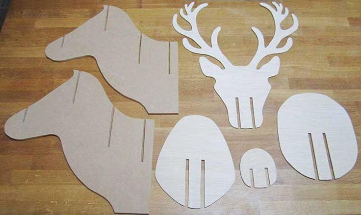 Tuto et gabarits à imprimer pour fabriquer un trophée de cerf en assemblage de bois DIY