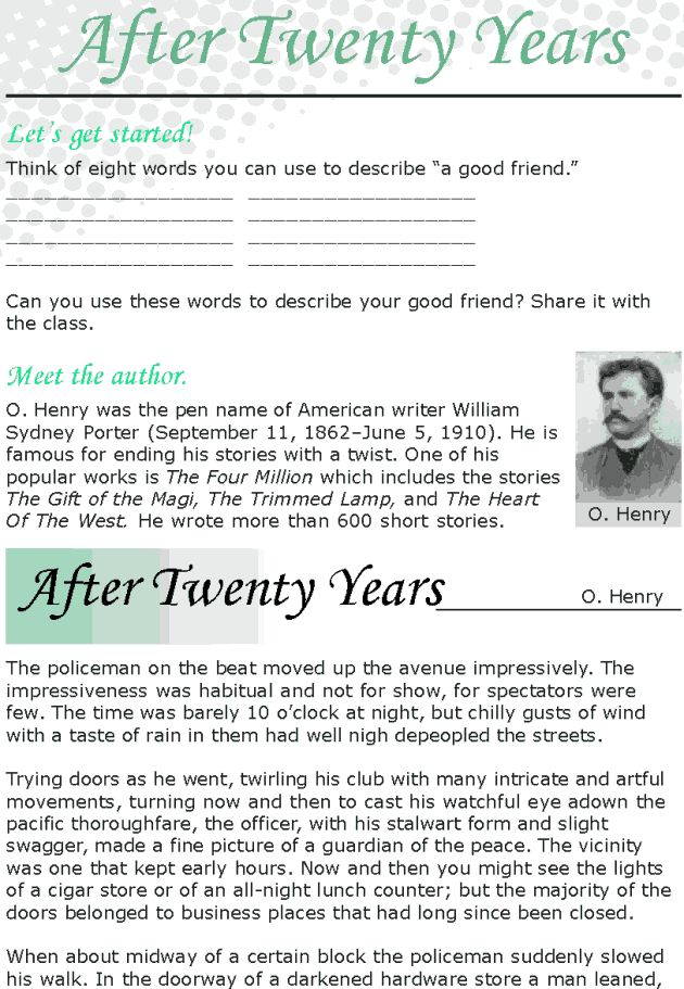"""short story after twenty years by o henry study questions O henry's the gift of in the story """"after twenty years your best friend when you see him/her again after twenty years 2 form questions using the."""